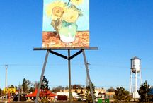 """World's Largest Painting on an Easel / Replica of Vincent van Gogh's """"Three Sunflowers in a Vase"""" on a giant easel in Goodland, KS"""