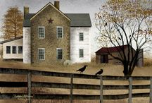 Barns and Country Folk Art / Art by Billy Jacobs, John Sloane, and Charles Wysocki