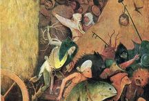Hieronymus Bosch / Hieronymus Bosch (/ˌhaɪ.əˈrɒnᵻməs ˈbɒʃ/;[1] Dutch: [ɦijeːˈroːnimɵz ˈbɔs];[2] born Jheronimus van Aken[3] [jeːˈroːnimɵs fɑn ˈaːkə(n)];[4] c. 1450 – 9 August 1516) was an Early Netherlandish painter. His work is known for its fantastic imagery, detailed landscapes, and illustrations of religious concepts and narratives.[5] Within his lifetime his work was collected in the Netherlands, Austria, and Spain, and widely copied, especially his macabre and nightmarish depictions of hell.