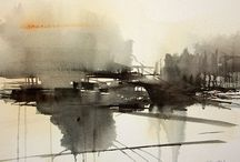 Art aquarelle paysages abstraits / Aquarelle