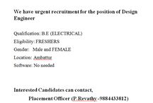 job offers for BE Electrical students apply for this job