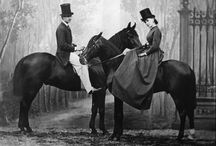 Vintage horses and riders