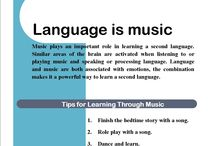 Language is Music / We know that #children, especially small children, really like music. They relate to it as entertainment and find learning vocabulary through songs amusing. #Songs associated with hand and arm gestures are even more powerful in engaging children.