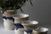 Flower vases, handmade thrown porcelain By Laura De Benedetti / Tactile, spiral shape, beautiful glazes, thrown porcelain vases, blue dripping colours.