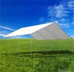 Tarp Tent Canopies / Every tarp tent comes with a heavy-duty tarp cover that has full UV protection and is completely waterproof. All our tarp shelters have heavy-duty ball bungees to secure the tarps to the frame and no tools are required. The canopies are easy to set up. All tent tarp shelter kits are backed by a 5-year warranty on acts of erosion for frame and top cover.