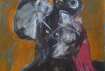 Roger Decaux / La main de Decaux est une main-signe qu'il laisse errer dans les ressacs d'Eros et dans les ombres mortelles. En langage d'abîme, Decaux le très grand peintre met à nu le drame ultime et porte très haut le combat de l'art.   Christian Noorbergen