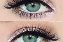 Makeup with green eyes