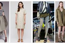 Utility- Spring/Summer 2015/16 / We're taking a closer look at the key trends for Spring Summer & giving you plenty of inspiration. Centralized around jackets, cargo pants and jumpsuits, worked in an army-inspired palette of khaki, green and olive, while softly draped silhouettes introduce a more feminine feel to trench coats and skirts.   Functional detailing and wrapped designs reinforce the utility look throughout.