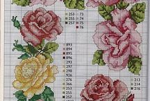 TABLECLOTHS 2-FLOWERS *CROSS STITCH