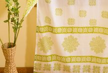 Green Curtains /  Green Curtains - Floral Curtains - Hand Block Printed  Cotton Curtains / by Attiser