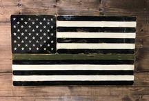 Thin Line Series - Handmade Wood Flags