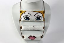 Koria Design - Deconstructed face / Unique hand-painted silk jewelry