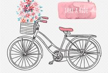 desenhos retro de bicicletas carros