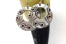 Silver Tribal Earrings, Tribal earrings, Silver jewelry, Disk Earrings, Silver Boho Earrings, Silver Gypsy Earrings,