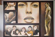 Schilderij van Vrouwen, 5 luik / Schoonheid, puur, samen zijn, zwangerschap, liefde