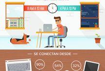 Infografías / Conéctate con lo último en tendencias. Conoce los datos del sector tecnológico y el comportamiento de los usuarios digitales en redes sociales.