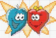 CROSS  STITCH  -  STARS  &  MUSIC  &  HEARTS