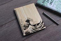 drewniane notesy notatniki artykuły piśmiennicze
