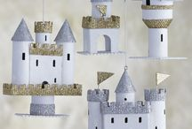 work / paper castle and folly ornaments for Crate and Barrel