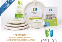 Yumi Return® Brand - Natural Starch Products / 1. Microwave Safe  2. Made from Natural Starch  3. Biodegradable, Compostable  4. Renewable and Sustainable