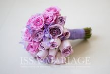 buchet mireasa din trandafiri si frezia mov / buchet cununie issamariage