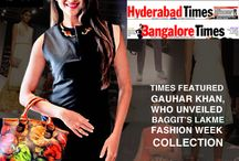 "The Times featured Gauhar Khan, who unveiled Baggit's New Lakme Fashion Week Collection! / Gauhar Khan & Baggit Complement each other in Style, Essence & Fashion as she Unveils Baggit's Lakme Fashion Week Collection"" on Bombay Times / Delhi Times/ Bangalore Times & Hyderabad Times First page."