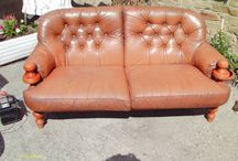 Sofa Project / Sofa bought for £3.15 from Ebay - yes the price is right! Leather was torn, wood was in a state and the whole thing smelled of Dog. Was I put off? Nope! This is how it turned out :) 1. Stripped Off The Smelly Leather 2. Aired and steamed the foam cushions 3. Stripped the wood frame, sanded and waxed it. 4 Sewed new cushion covers from a cream sofa cover. 5. Dyed the new covers 6. made cream strips for over the top   et Voila! :)