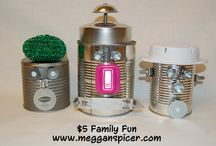 $5 Family Fun...Tin Can Robots / $5 Family Fun – Tin Can Robots  Total Activity Cost: $5  Recycled tin cans become a fun & whimsical craft project for your kids.