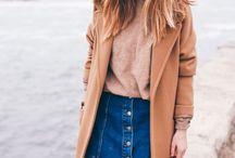 Clothing / Denim skirt in winter