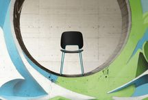 Traffic / Traffic, chairs which have a coloured metal body, is everyday products of simple and essential expression