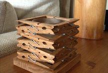 porta candela con mollette di legno