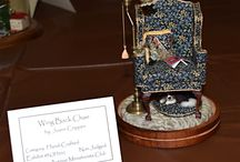 Miniature wingback chairs / The Madison Avenue Miniaturist Club made wingback chairs that were exhibited at the Museum of Miniature Houses' 16th Annual Dollhouse & Miniature Show in September 2016.