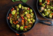 seare and roasted Brussels sprouts with red peppers