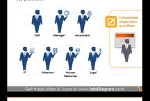 Soft skills and HR ppt graphics / Modern presentation symbols library of various company roles, positions. Illustrate organizational structures using icons of CEO, CIO, managers and other stuff symbols. Present your HR strategy plans visually using process diagrams. Easily editable in PowerPoint.