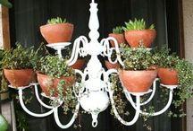 lampadario con vasi