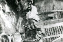 Eigen werk / My own portraits in watercolour or charcoal.