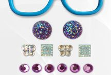 """Turn It Up Turquoise / Bring out the bling!  This kit includes: Turquoise frames (5.25"""" x 1.5""""), 2 large purple fairy dusted circles, 4 silver butterflies, 4 square diamonds, 6 lavender circles"""