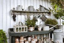 Outside garden shelves