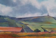 Under the same sky / Acrylic landscapes I have painted looking at the beautiful skies in Yorkshire. Exhibition coming up in September at Heart Gallery, Hebden Bridge