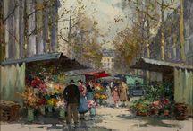 Flower Market, Madeleine / Edouard Leon Cortès, Flower Market, Madeleine, Oil on canvas.  Rehs Galleries, Inc.