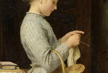 Knitting in art and old photos