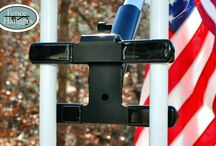 Flag Pole Mounts / Work on almost all railings and fences. Railings include those around decks, stairs, patios, porches, etc.. See our website for more information.