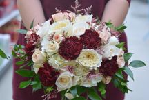 Weddings: Red Romance and Burgundy Brilliance / Wedding Bouquets in red and burgundy tones created by our certified wedding designers here at Bradford Greenhouses Garden Gallery, Barrie Ontario.