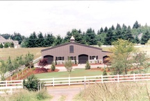 Bullen Stable / Oregon - The clients requested exterior renovation of this existing steel sided pole barn and arena.  Work by Equine Facility Design included selection of exterior materials, redesign of doors and windows, addition of architectural features, redesign of road and fencing, and site landscaping.