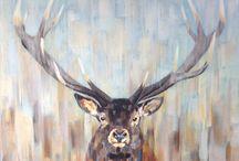 Edelhert, acryl op doek, 100x100cm. / #edelhert #red deer #deer #painting deer #acryl #acrylpainting #painting red deer  #schilderij edelhert