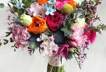 decoupage flowers in vases, bouquets, containers etc