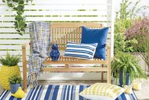 High Times / Ahoy matey! We're sea-ing blue with nautical touches and whimsical elements that make navy summer's newest neutral. Paired with a sunny pop of yellow, sailor-inspired stripes, shoreside driftwood, and rope details, you'll be on a high as you ride the wave of summer and bring the beach indoors.