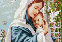 Schema punto croce madonna e gesù