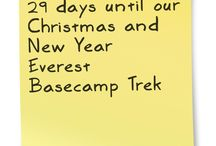 Christmas and New Year Everest Basecamp Trek / 14 days from 21 December to 5 January. Go to Everest during a less crowded time of year. We plan to celebrate Christmas in the Sherpa capital of Namche Bazaar and bring in the New Year in Gorak Shep, which is the closest village to Mount Everest. Walk on wide trails through lovely terraced villages perched beside rapidly flowing rivers beneath the towering snowy giants of the Himalaya to Nepal's most famous and beautiful basecamp. www.ChristmasNewYearTrek.com.