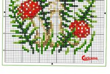 MUSHROOMS*CROSS STITCH-EMBROIDERY